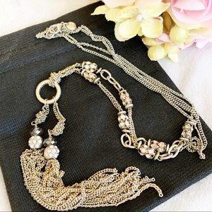 LOFT Gold Rhinestone Scatter Bead Lariat Necklace